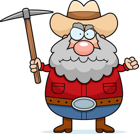 A cartoon prospector with an angry expression. Illustration