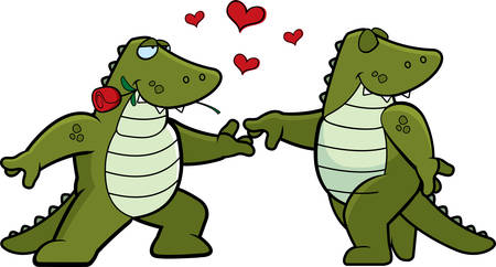 Two cartoon alligators in love with each other. 일러스트