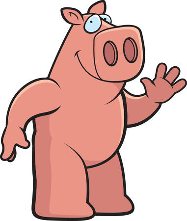 greet: A happy cartoon pig waving and smiling.