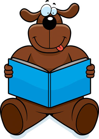 A cartoon dog reading a book and smiling. Иллюстрация