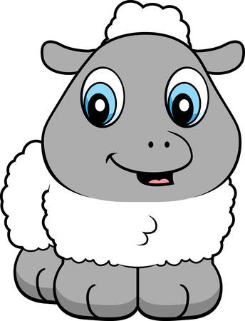 baby lamb: A cartoon baby lamb smiling and happy.