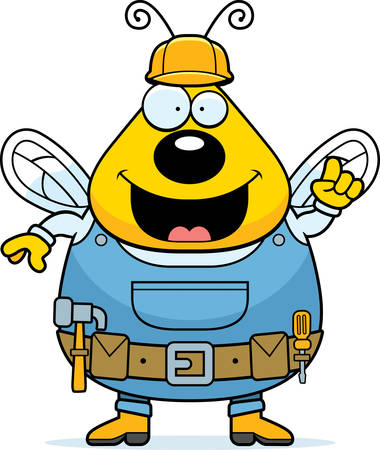 A cartoon bee dressed in overalls and a tool belt.