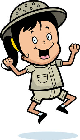 A happy cartoon explorer jumping and smiling.