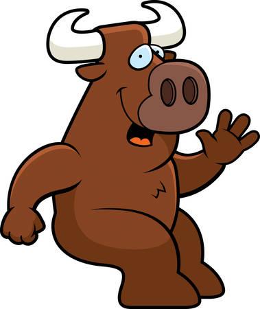 relajado: Un toro de dibujos animados feliz sentado y sonriente.