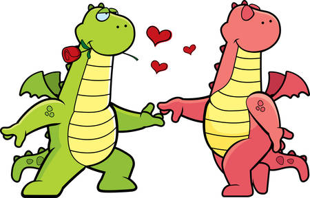 Two happy cartoon dragons in love with each other.