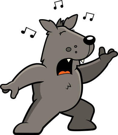 A cartoon wolf standing and singing a song.