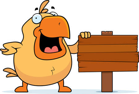 wooden post: A happy cartoon chicken standing next to a sign.