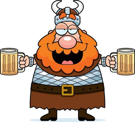 A happy cartoon viking drunk on beer. Ilustracja