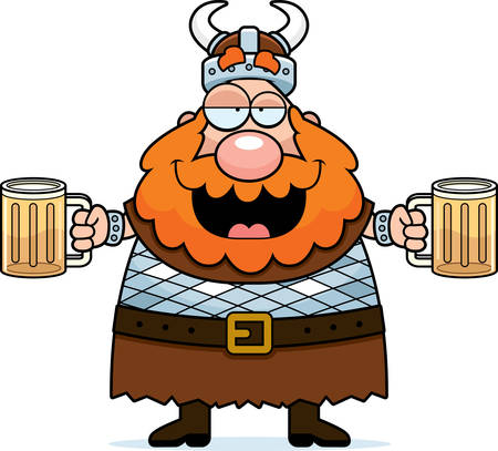 Een happy cartoon viking dronken op bier.