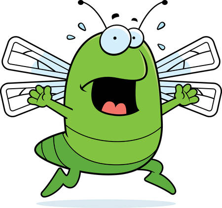 A cartoon dragonfly running in a panic. Illustration