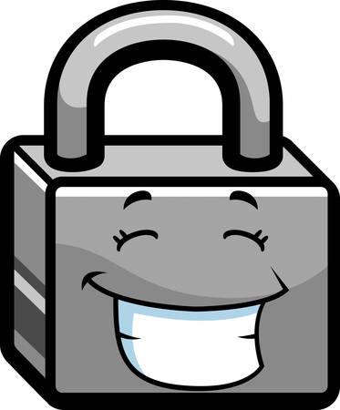 A cartoon metal lock happy and smiling.
