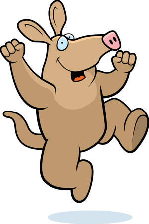A happy cartoon aardvark jumping and smiling.