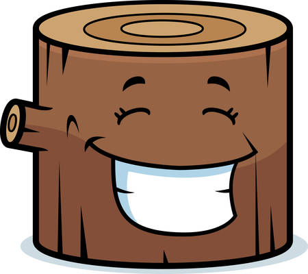 A cartoon wood log happy and smiling.