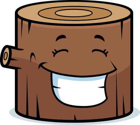 Una madera de dibujos animados ingrese feliz y sonriente.
