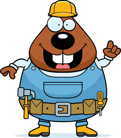construction: A happy cartoon builder beaver with construction tools.