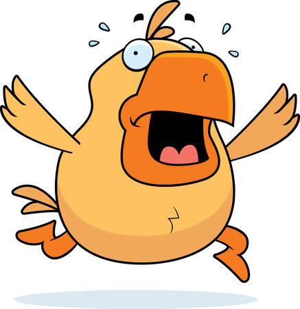 paniek: Een cartoon kip uitgevoerd in paniek.