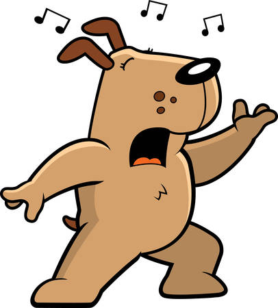 the song: A cartoon dog standing and singing a song.