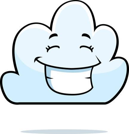 A cartoon white cloud happy and smiling. Illusztráció