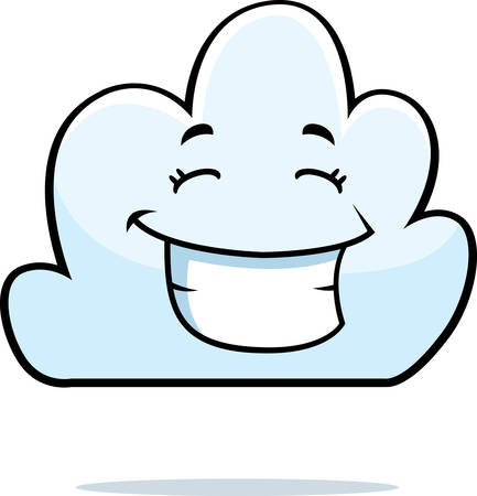 A cartoon white cloud happy and smiling. Illustration