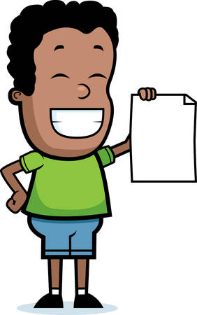 A happy cartoon child proudly holding a piece of paper.