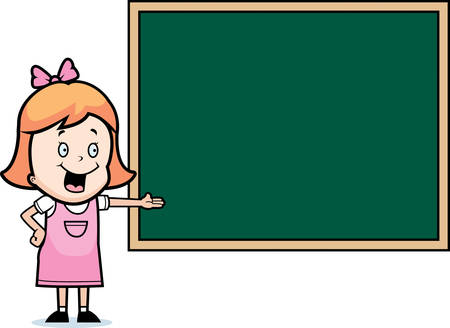 A happy cartoon child student at a chalkboard in school. Illusztráció