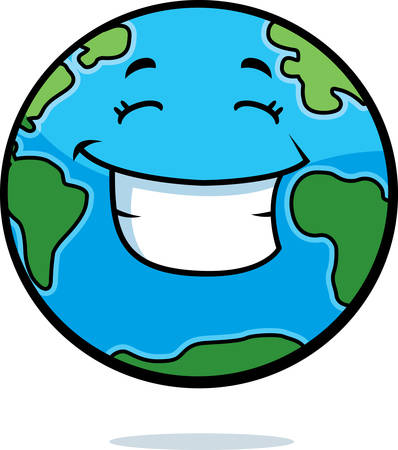A cartoon planet Earth happy and smiling.