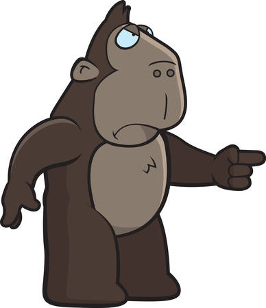 ape: A cartoon ape with an angry expression. Illustration