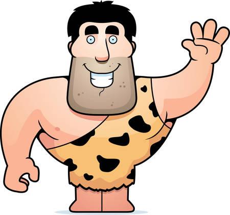 primeval: A happy cartoon caveman waving and smiling.