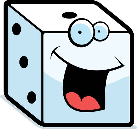 A cartoon white dice smiling and happy.