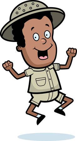 kid illustration: A happy cartoon child explorer jumping and smiling.