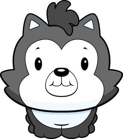 Een gelukkig cartoon kind wolf staan en glimlachen.