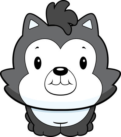 A happy cartoon baby wolf standing and smiling.