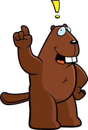 eureka: A happy cartoon beaver with an idea. Illustration