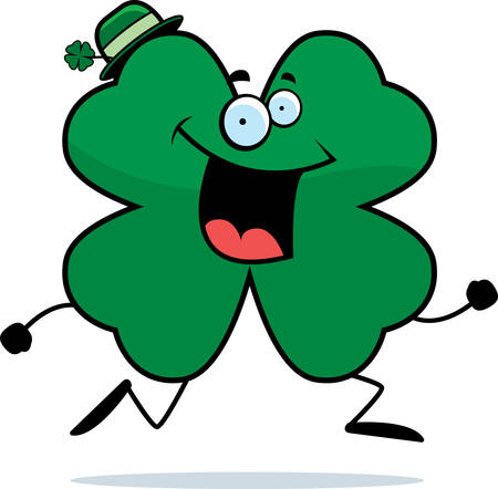 A happy cartoon four leaf clover running and smiling.