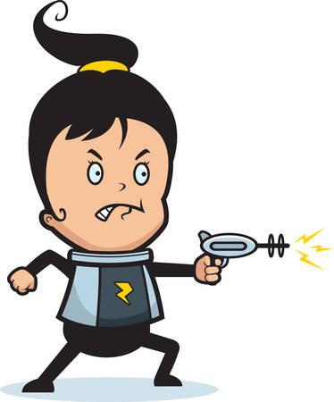 A cartoon child astronaut with a ray gun. Ilustração