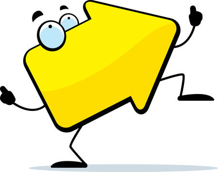 A cartoon yellow arrow with eyes dancing. Ilustracja
