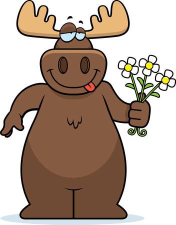 A happy cartoon moose with a bouquet of flowers.