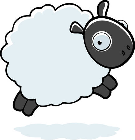 A cartoon fluffy sheep jumping in the air.