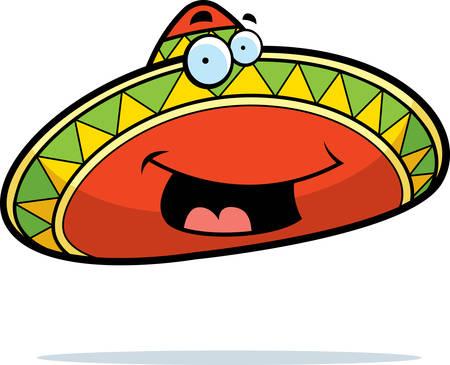 mexican sombrero: Un cartone animato messicano sombrero sorridente e felice.