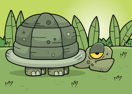 A cartoon turtle standing in the swamp.