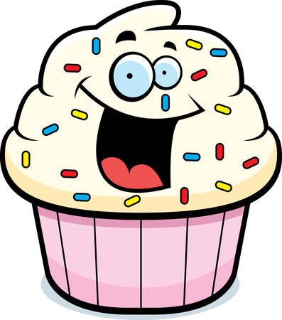 a cartoon frosted cupcake smiling and happy royalty free cliparts