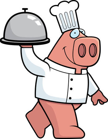A happy cartoon pig chef with a serving tray.