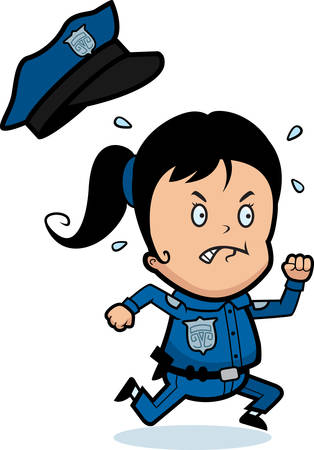 A cartoon child police officer angry and running. Illustration