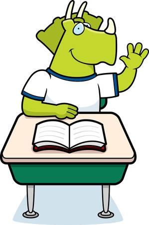 Een gelukkige cartoon dinosaurus student aan een bureau.