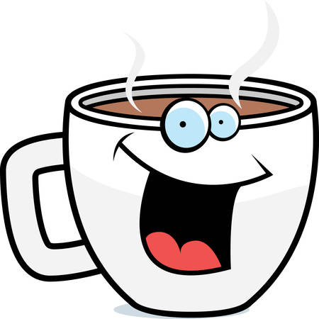 A cartoon cup of coffee smiling and happy. Illustration