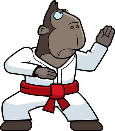 A cartoon ape doing karate in a gi. Illustration