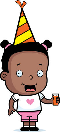 toddler: A happy cartoon toddler with a party hat on.
