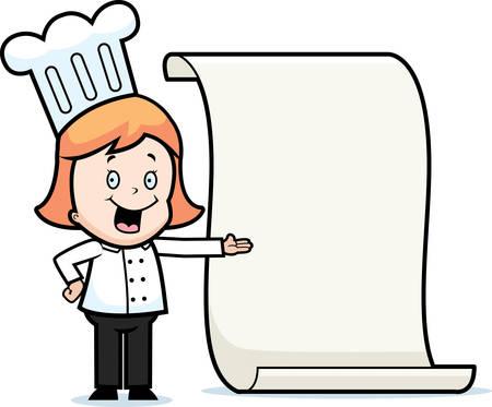 A happy cartoon child chef with a menu.