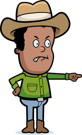 adolescent: A cartoon cowboy kid angry and pointing. Illustration