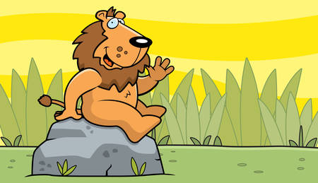 greet: A happy cartoon lion in the jungle.